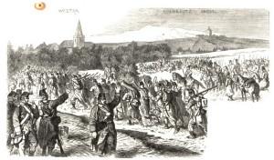 Protiútok rakouských záloh, I. a VI. sboru na Rozběřice a Chlum začínal s plnou parádou s hrajícími plukovními kapelami.