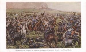 Útok rakouského záložního jezdectva u Střezetic na reprodukci obrazu Václava Sochora.
