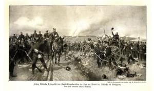 Pruský král Vilém I. večer 3. července po vítězné bitvě u Hradce Králové.