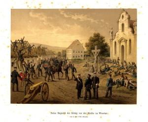 Pruský král Vilém I. 4. července večer u kostela ve Všestarech.
