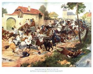 Srážka rakouského hulánského pluku č. 6 s pruskými hulány u Opatova 8. července 1866, jeden z drobných rakouských úspěchů, který neměl na výsledek války žádný vliv.