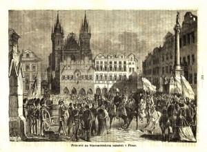 Pruská gardová zeměbrana na Staroměstském náměstí v Praze.