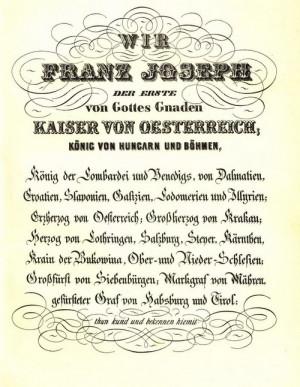 První strana pražské mírové smlouvy podepsané 23. srpna 1866 v hotelu U Modré hvězdy.