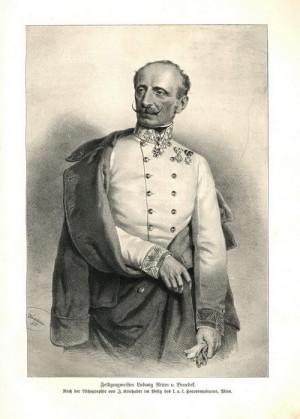 Polní zbrojmistr Ludwig rytíř von Benedek.