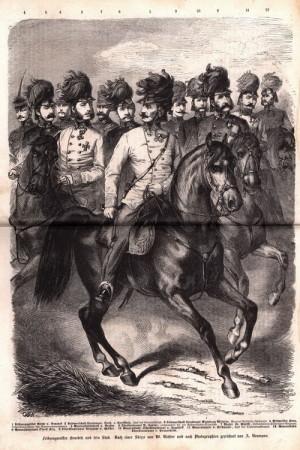 Polní zbrojmistr Ludwig rytíř von Benedek a jeho generální štáb.