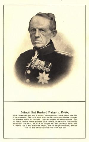 Pruský polní maršál Helmuth Karl Bernhard von Moltke na pozdější fotografii.