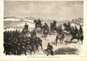 Pruský král Vilém I. ráno 3. července sleduje nástup svých jednotek do počínající bitvy u Hradce Králové.