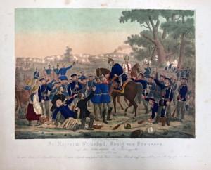Pruský král Vilém II. doprovázený Bismarckem v uniformě majora pruské zeměbrany sledoval bitvu u Hradce Králové ze štábu pruské 1. armády.