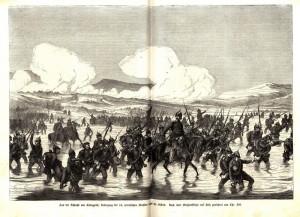 """Pruská """"Labská"""" armáda překračuje říčku Bystřici."""