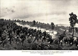 Pruská pěchota v boji u Hradce Králové.