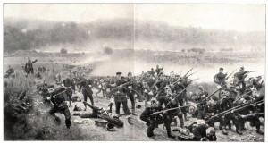Pruská pěchota v boji u svíbského lesa.