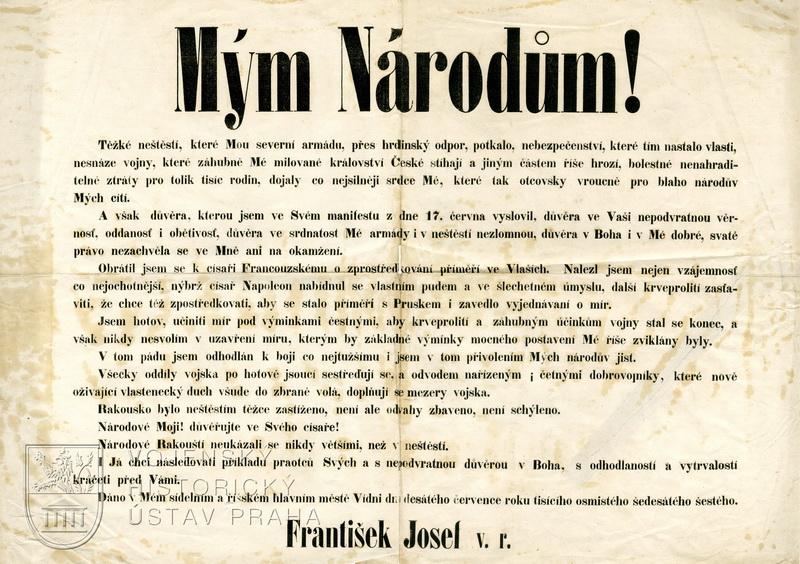 """Vyhláška """"Mým národům!"""" z 10. 7. 1866"""