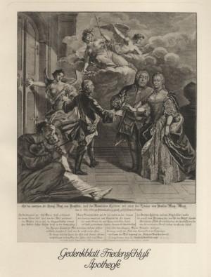 Marie Terezie, Friedrich II. Pruský a Friedrich August II. Saský – hlavní protagonisté prusko-rakouských válek 18. století na alegorické rytině k uzavření hubertusburského míru roku 1763
