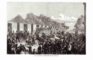 Pruský 11. vestfálský husarský pluk odjíždí z Düsseldorfu
