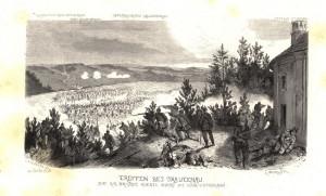 Pruská střelecká linie versus rakouská útočná kolona, zde v boji u Trutnova 27. června 1866, kde výjimečně za cenu těžkých ztrát kolona zvítězila nad linií