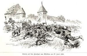 Útok pruské pěchoty na hřbitov ve Vysokově (během bitvy u Náchoda)