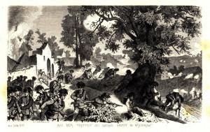 Rakouští myslivci v boji ve Vysokově (během bitvy u Náchoda)