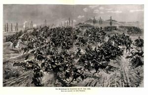 Srážka pruského jezdectva s rakouskými dragouny během bitvy u Trutnova 27. června