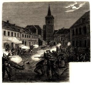 Saská a pruská pěchota v boji na jičínském náměstí 29. června