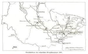 Mapa pruského tažení v Čechách až k bitvě u Hradce Králové