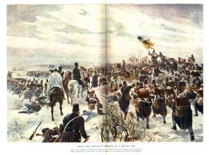 Bitva mezi Rakušany a Dány u Königsbergu 3. února 1864. Zatímco první tah pruské armády, která se pokusila obejít dánské křídlo u Misunde, skončil její porážkou, rakouská armáda se vrhla na Dány dle svých tradic za zvuku plukovních hudeb čelním útokem a donutila je k vyklizení předsunutých pozic a stažení do Dannevirke
