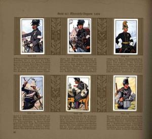 Tablo obrázků rakouských polních myslivců, dragouna, husara, dělostřelce a pionýra z roku 1864