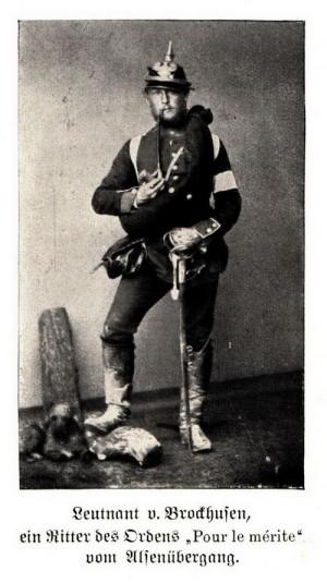 Poručík von Brockhusen na fotografii z roku 1864, kdy za tažení proti Dánsku obdržel řád Pour le Mérite