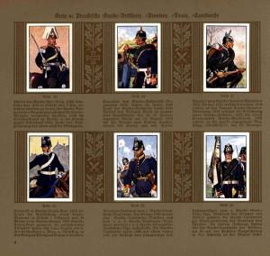 Tablo obrázků pruských gardových vojáků: dělostřelců, pionýrů, vozatajstva a zeměbrany
