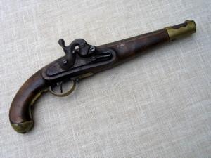 Pohled na pistoli ze zámkové strany před restaurováním. Foto Petr Moudrý.