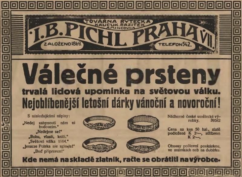 Reklama otištěná v prosinci 1914 v rakousko-uherských novinách upozorňuje na bohatou nabídku patriotických prstenů. FOTO: VHÚ Praha