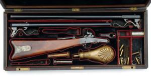 1. model Maynardovy karabiny v kazetě s výměnnými hlavněmi a příslušenstvím. FOTO: Jan Šach