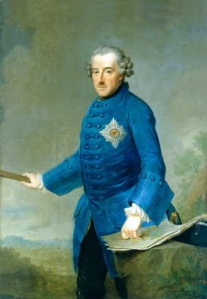 Pruský král Friedrich II, řečený Veliký, na portrétu z roku 1763.