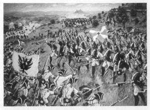 Boj pěchoty na úpatí Lovoše.