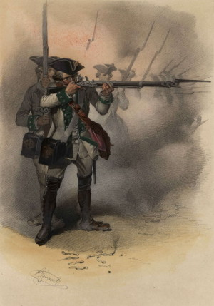 Rakouský pěšák tzv. německé pěchoty, tedy z pluků odváděných v Rakousku a Českých zemích.