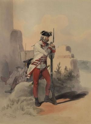 Rakouský pěšák tzv. uherské pěchoty, tedy z pluků odváděných v zemích Svatoštěpánské koruny.