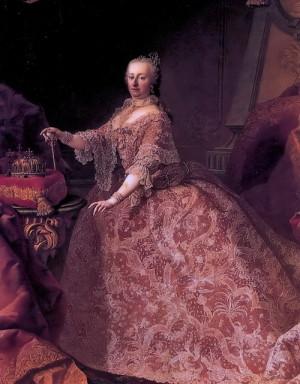 Česká, uherská a chorvatsko-slavonská královna Marie Terezie na portrétu z přelomu let 1752-1753.
