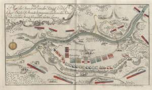 Plánek obleženého saského opevněného tábora u Pirny roku 1756.
