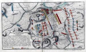 Plánek bitvy u Lovosic 1. října 1756.