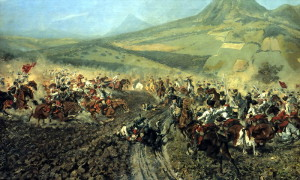 Bitva rakouského a pruského jezdectva pod Lovošem na obraze Rudolfa Ottenfelda.