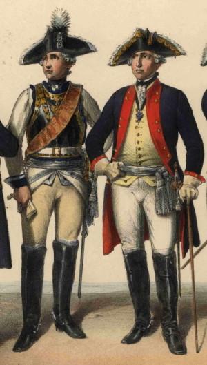 Pruský generál jezdectva (vlevo) a pěchoty (vpravo), oba v plukovních uniformách.