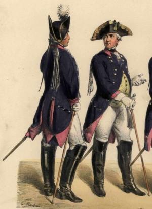 Pruský křídelní pobočník jezdectva (vlevo) a pěchoty (vpravo).