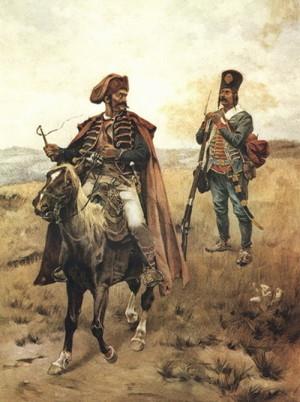 Rakouský, respektive chorvatský, pandur (vlevo) a hraničář (vpravo) na obraze Rudolfa Ottenfelda.