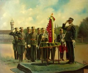 Anton Schreyer, Slavnostní shromáždění Národních gard, 1929. Olejomalba na kartonu.