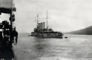 Rakousko-uherský pancéřový křižník Sankt Georg - pohled zleva zezadu.  Foto sbírka VHÚ.