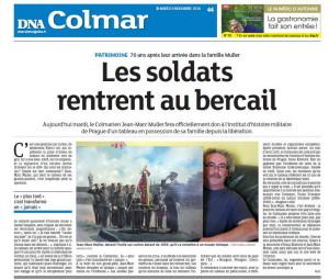 Majitel obrazu Jean Marc Müller na titulní stránce místního deníku DNA Colmar, 8. listopadu 2016.