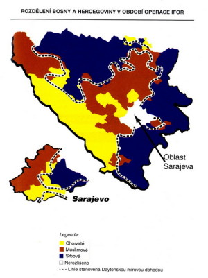 Etnické rozdělení Bosny a Hercegoviny v roce 1996. Zdroj: MO ČR