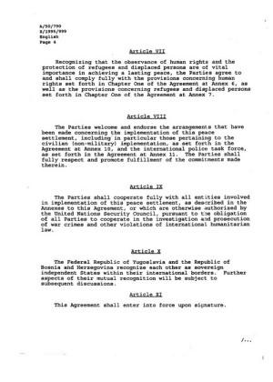 Text Všeobecné rámcové dohodě o míru v Bosně a Hercegovině. Zdroj: RB OSN