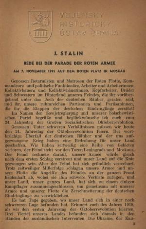 Projev J. Stalina při přehlídce 7. listopadu 1941.