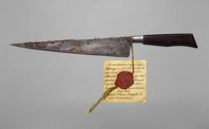 Nůž, jímž se pokusil maďarský krejčovský tovaryš Johann Libenyi 18. února 1853 zavraždit rakouského císaře.