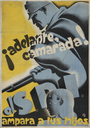 Kupředu, soudruhu!, 1936, S. P. I. chrání tvé děti. Tisk, litografie.